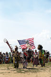 The Eagle Staff leads the Grand Entry at he NYC Pow Wow in Brooklyn Royalty Free Stock Images