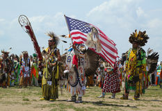 The Eagle Staff leads the Grand Entry at he NYC Pow Wow in Brooklyn Royalty Free Stock Photos