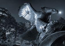 Eagle statue on East Coast Memorial in New York. A black and white photo of an eagle statue on the East Coast Memorial in New York, USA royalty free stock images