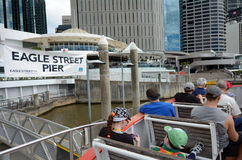 Eagle Street Pier-veerbootwerf in Brisbane Stock Foto