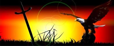 Eagle sul cranio, sul campo della battaglia. (V Illustrazione Vettoriale