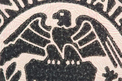 Eagle sulla banconota del dollaro U.S.A., macro Immagini Stock