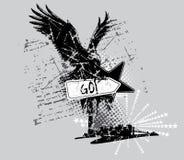 Eagle t-shirt design. Illustration, urban style royalty free illustration