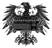 Eagle trzyma klawiaturę ilustracja wektor