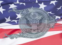 Eagle on U.S. dollar bill closeup macro on USA flag background , 1 usd banknote. Eagle on U.S. dollar bill closeup macro on USA flag , 1 usd banknote stock images