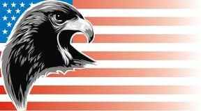 Eagle and usa flag vector illustration