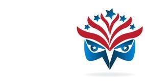 Eagle-van het de vlagbeeld van de V.S. van het gezichtssymbool video de klemlengte stock footage