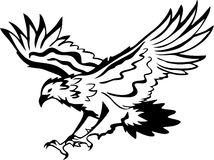 Eagle vector. Flying eagle emblem in black and white Stock Photos