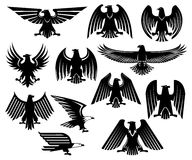 Eagle vector heraldic icons or emblems set Royalty Free Stock Images