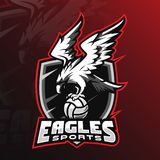 Eagle vector mascot logo design with modern illustration concept style for badge, emblem and tshirt printing. angry eagle. Illustration by holding the ball royalty free illustration