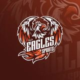 Eagle vector mascot logo design with modern illustration concept style for badge, emblem and tshirt printing. angry eagle. Illustration for sport and esport stock illustration