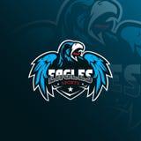 Eagle vector mascot logo design with modern illustration concept style for badge, emblem and tshirt printing. angry eagle. Illustration with wings royalty free illustration