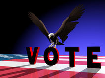 Eagle Vote 2. A Bald Eagle landing on the O in VOTE Royalty Free Stock Image