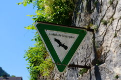 Eagle warning sign in Germany. A sign warning people of Eagles in the area taken in Bavaria Royalty Free Stock Photo