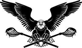 Eagle Wide Span Wings calvo com varas da lacrosse, Front View ilustração do vetor