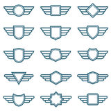 Eagle wings army vector badges. Aviation wing labels. Winged pilot emblems. Label and insignia military illustration Royalty Free Stock Photo