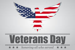 Eagle With USA Flag Inside For Veterans Day. Vector Illustration Stock Images