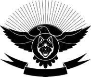 Eagle, wolf, zon voor tatoegering en stickers royalty-vrije stock afbeeldingen