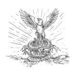 Eagle wydźwignięcie Jak Phoenix i smoka tatuaż Obraz Stock
