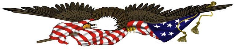 Eagle y bandera Foto de archivo