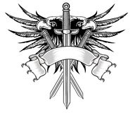 Eagle y espada ilustración del vector