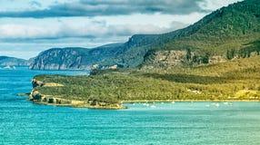 Eaglehawk Neck in Tasmania. Land jutting into the ocean at Eagelhawk Neck in Tasmania, Australia Royalty Free Stock Image