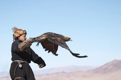 Eaglehunter with golden eagle Royalty Free Stock Photos