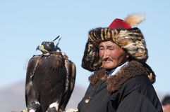 Eaglehunter with golden eagle Royalty Free Stock Images