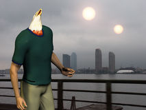 Eagleman. Man with eagle head. Two suns above city royalty free stock images