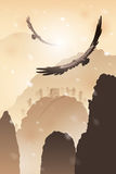Eagles летая над горами иллюстрация штока
