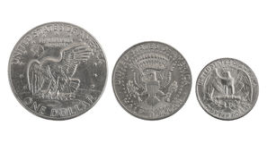 Eagles. Old US silver coins with eagles: one, half and a quarter of dollar Royalty Free Stock Photo