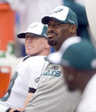 Eagles. Philadelphia Eagles quarterback Donovan McNabb watches the action from the bench in the fourth quarter of a 2009 game Royalty Free Stock Photos