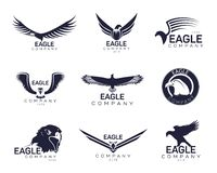 Eagles or hawk, falcon signs for company brand. Set of isolated eagles icons for company branding or hawk with feather and beak for insignia. Bird with wings for stock illustration