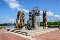 Eagles head. Made of metals concrete and wood, new landmark at krabi town along the river Royalty Free Stock Images