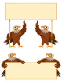 Eagles holding blank banner. Cartoon styled vector illustration. Elements is grouped  and divided into layers. No transparent objects. Isolated on white Royalty Free Stock Photography