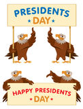 Eagles holding Presidents Day banner. Cartoon styled vector illustration. Elements is grouped  and divided into layers. No transparent objects. Isolated on Royalty Free Stock Images