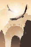 Eagles som flyger över berg Arkivfoton
