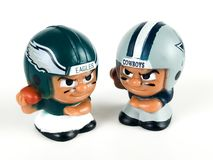 Eagles vs. CowboysLi`l Teammates Toy Figures. Eagles vs Cowboys, Li`lToy figures on a white backdrop Stock Photo