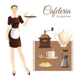Eaitress or maid and coffee equipment. Waitress or maid in french style clothes. Coffee equipment on carpet. Coffee mill, coffee, sugar, croissant, cup of coffee Stock Photography