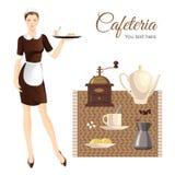 Eaitress oder Mädchen- und Kaffeeausrüstung Stockfotografie