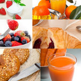Ealthy vegetarian breakfast collage Royalty Free Stock Photography