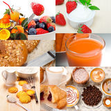 Ealthy vegetarian breakfast collage Stock Photos