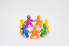 Eam unity and cooperation in colorfull rubber peop Stock Photography