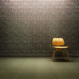 Eames Chair. 3D rendering of wooden Eames chain in front of a tiled grey wall Royalty Free Stock Photography