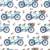 Eamless modell med cyklar och blommor Royaltyfria Foton