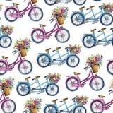 Eamless modell med cyklar och blommor Arkivbilder