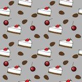 Eamless-Muster: Kuchen, Kirsche, Kaffeebohnen Lizenzfreie Stockfotografie