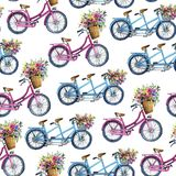 Eamless pattern with bicycles and flowers Stock Images