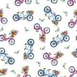 Eamless pattern with bicycles and flowers Royalty Free Stock Photos