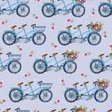 Eamless pattern with bicycles and flowers Royalty Free Stock Photography
